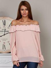 Szyfonowa bluzka hiszpanka pudroworóżowa