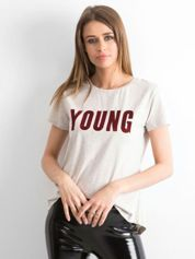 T-shirt beżowy Young