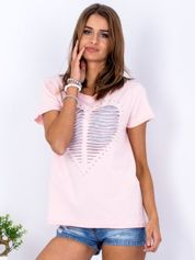 T-shirt brzoskwiniowy cut out z sercem