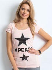 T-shirt brzoskwiniowy z naszywką gwiazd