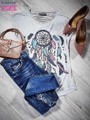 T-shirt cut out łapacz snów z piórami jasnoszary