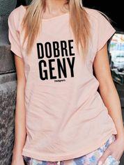 T-shirt damski DOBRE GENY brzoskwiniowy