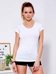T-shirt damski biały V-neck