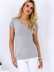 T-shirt damski jasnoszary V-neck