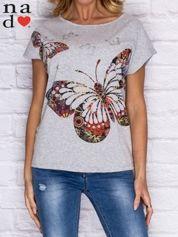 T-shirt damski w motyle szary