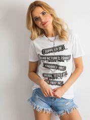 T-shirt damski z aplikacją i nadrukiem biały