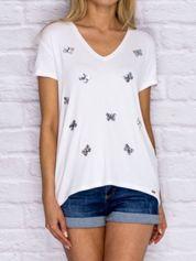 T-shirt damski z cekinowymi motylami biały