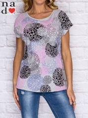 T-shirt damski z kolorowym nadrukiem szary