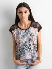 T-shirt damski z kolorowym printem