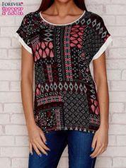 T-shirt damski z motywem ornamentowym czarny