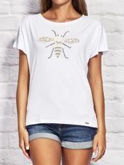 T-shirt damski z naszywką owada biały