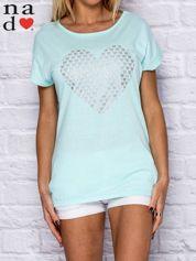T-shirt damski z serduszkami miętowy