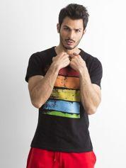 T-shirt męski z kolorowym nadrukiem czarny