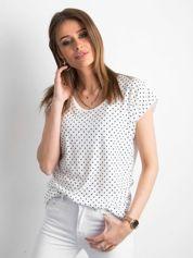 T-shirt w groszki biały