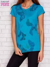 T-shirt w motyle ciemnozielony
