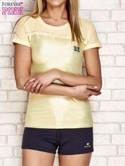 T-shirt z błyszczącym nadrukiem jasnożółty