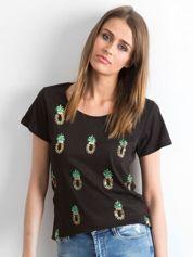 T-shirt z cekinowymi ananasami czarny