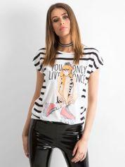 T-shirt z dziewczęcym nadrukiem biały