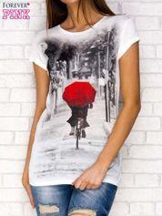 T-shirt z fotograficznym nadrukiem ecru