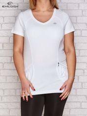 T-shirt z kieszonką biały PLUS SIZE