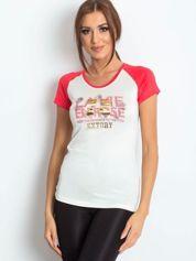 T-shirt z liczbą 72 ciemnokoralowy