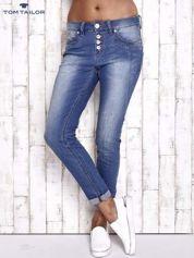 TOM TAILOR Niebieskie spodnie jeansowe tapered z napami