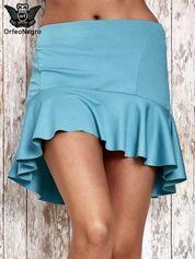 Turkusowa spódnica mini z falbanką