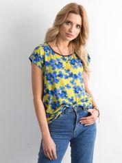 Zielono-niebieski t-shirt w kwiaty