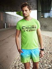 Zielony t-shirt męski z tekstowym nadrukiem