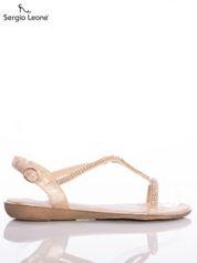 Złoto-beżowe sandały Sergio Leone z błyszczącymi dżetami