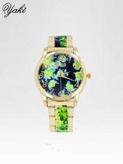 Złoty zegarek damski na bransolecie z zielonym motywem kwiatowym