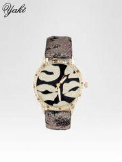 Złoty zegarek na pasku z motywem KISS