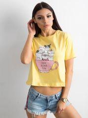 Żółta bawełniana koszulka z nadrukiem