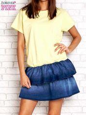 Żółta sukienka dresowa z jeansowym dołem