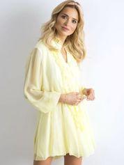 Żółta sukienka z żabotem