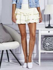 Żółta trapezowa spódnica z falbanami