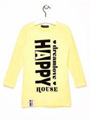 Żółta tunika dla dziewczynki z napisem HAPPY
