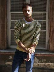 Żółty sweter męski w paski Funk n Soul