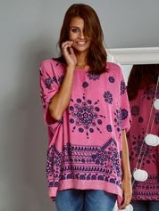 Zwiewna bluzka oversize z folkowym wzorem różowa