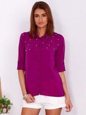 Zwiewna fioletowa koszula z perełkami na dekolcie