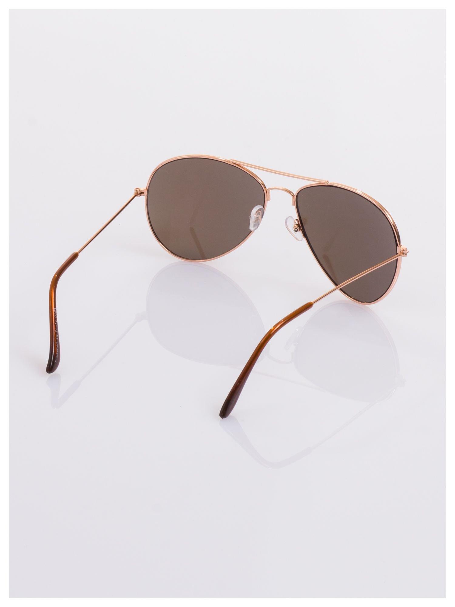 AVIATORY złote okulary pilotki lustrzanki niebiesko-fioletowe                                   zdj.                                  4