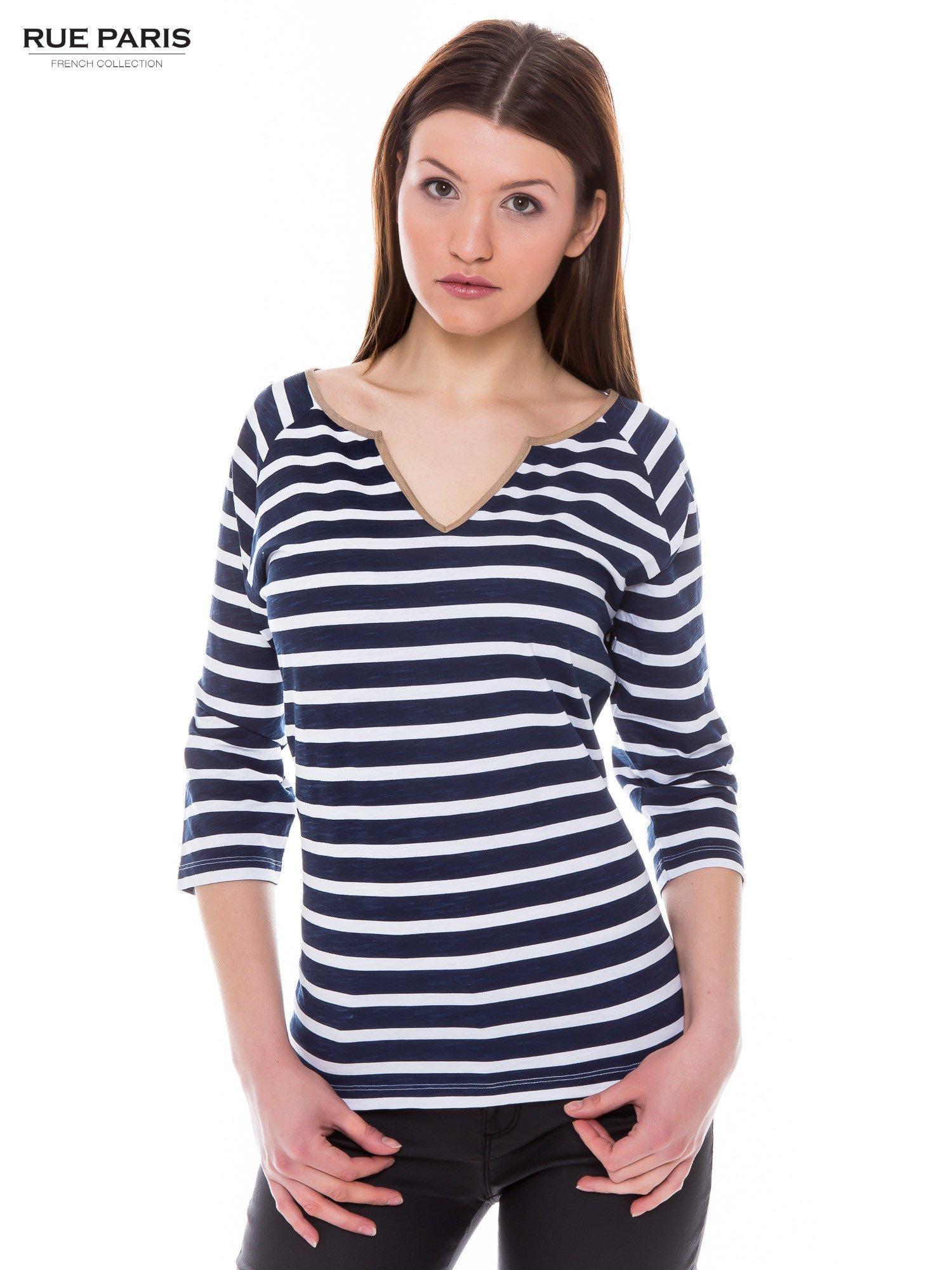 Bawełniana bluzka w biało-granatowe paski w stylu marynistycznym                                  zdj.                                  1