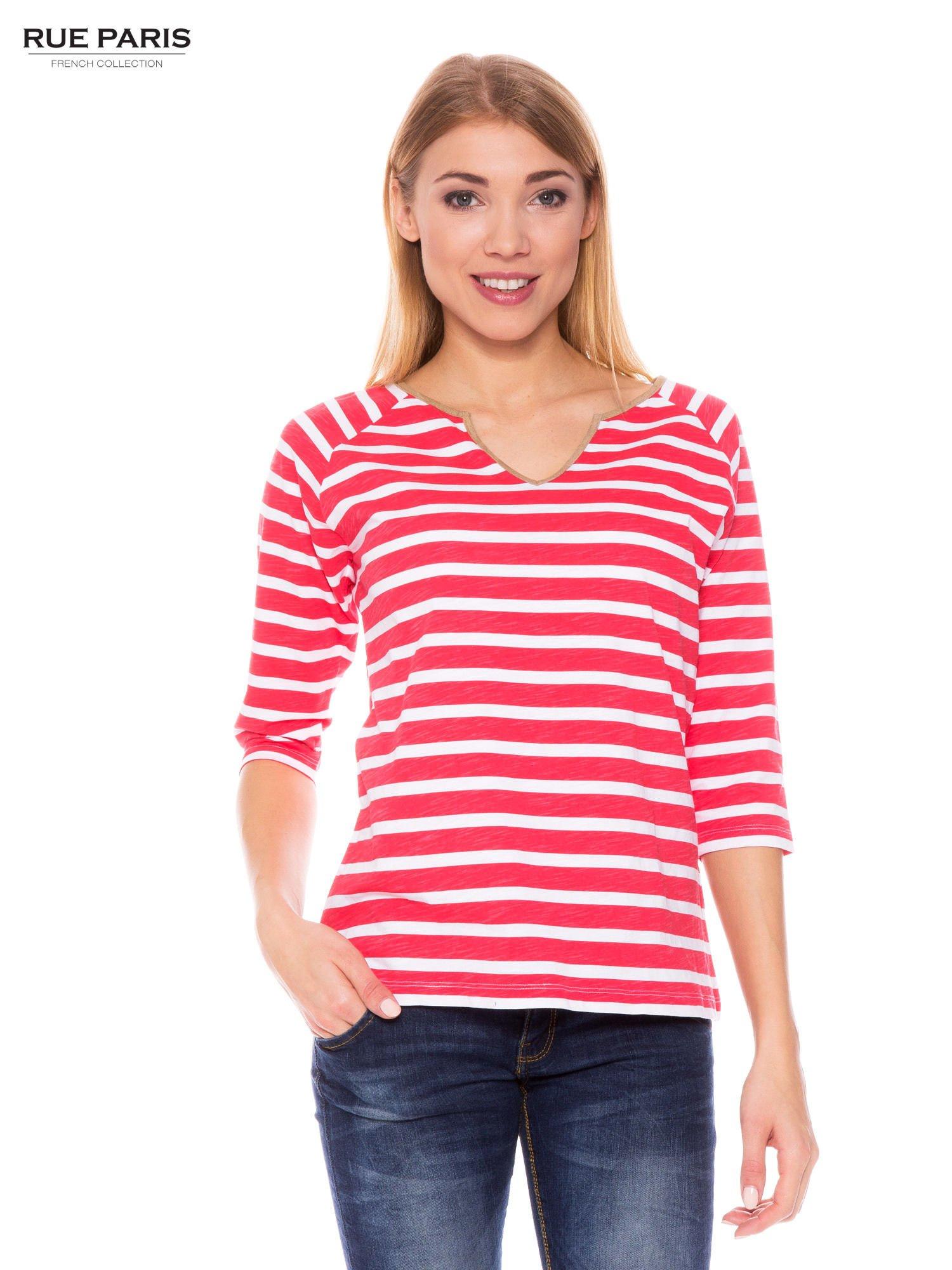 Bawełniana bluzka w biało-koralowe paski w stylu marynistycznym                                  zdj.                                  1