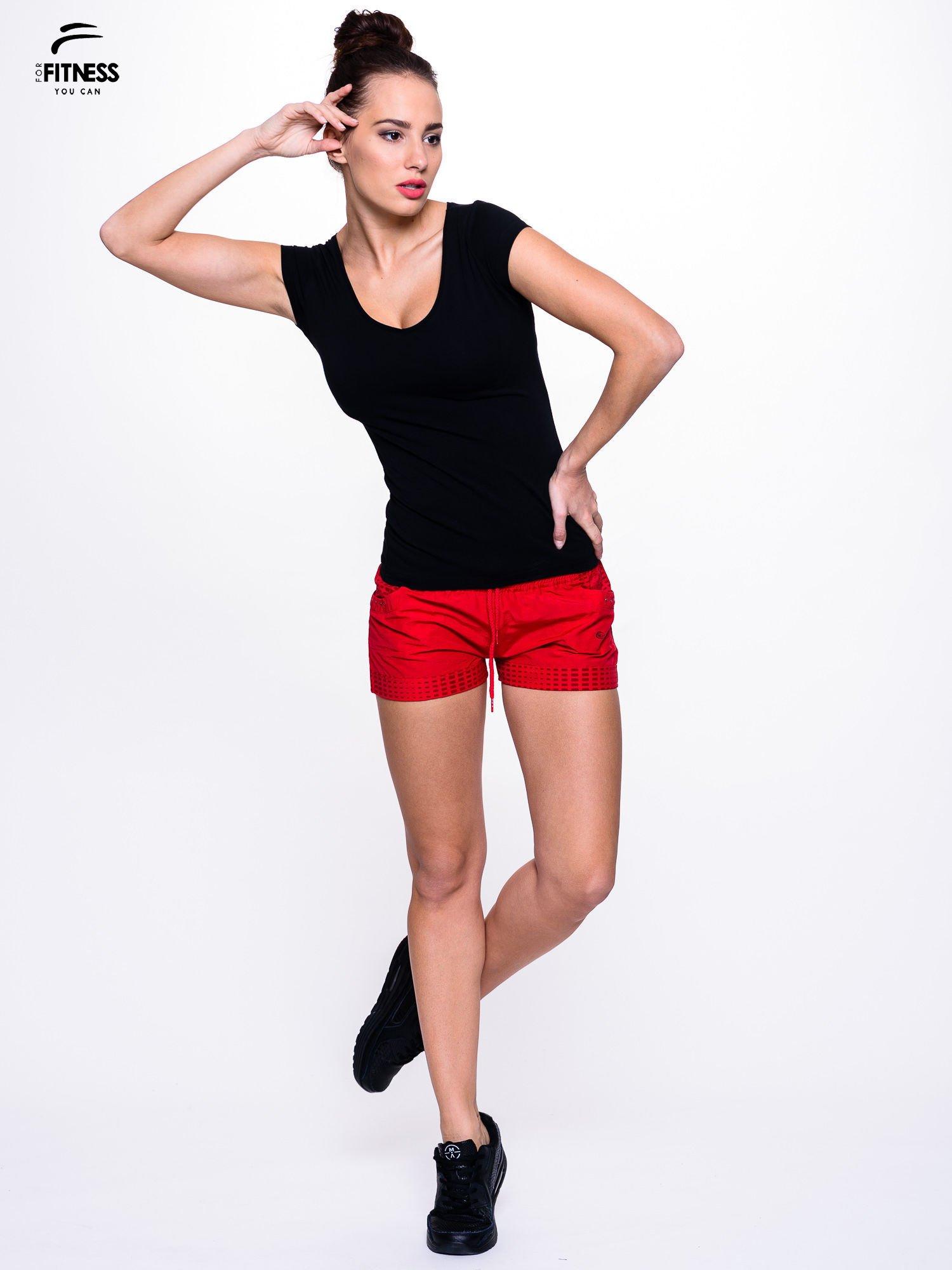 75af1f0489a490 Bawełniana czarna bluzka na krótki rękaw FOR FITNESS - T-shirt ...