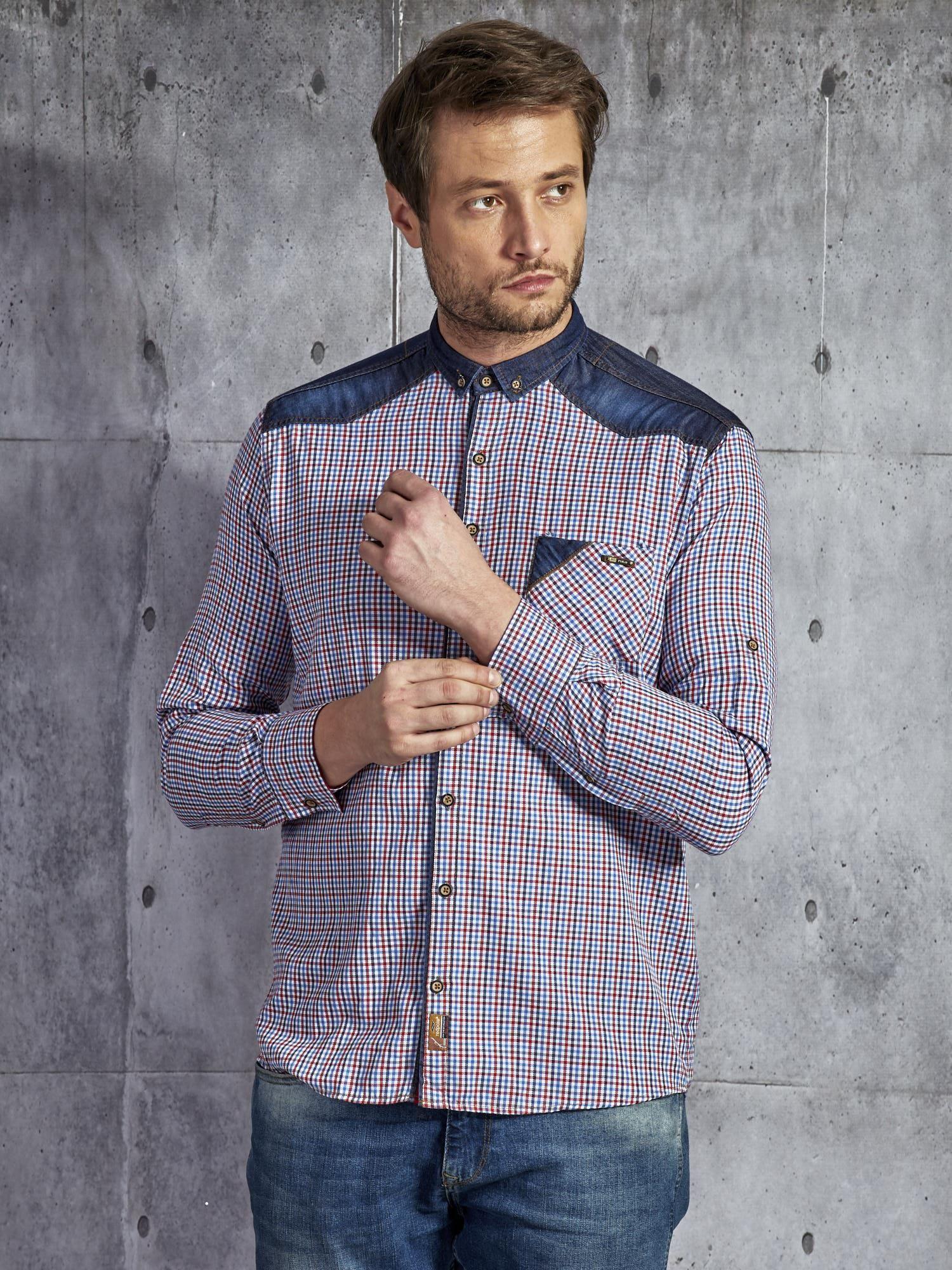 f3a541b96a775c Bawełniana koszula męska w kratkę wielokolorowa PLUS SIZE ...