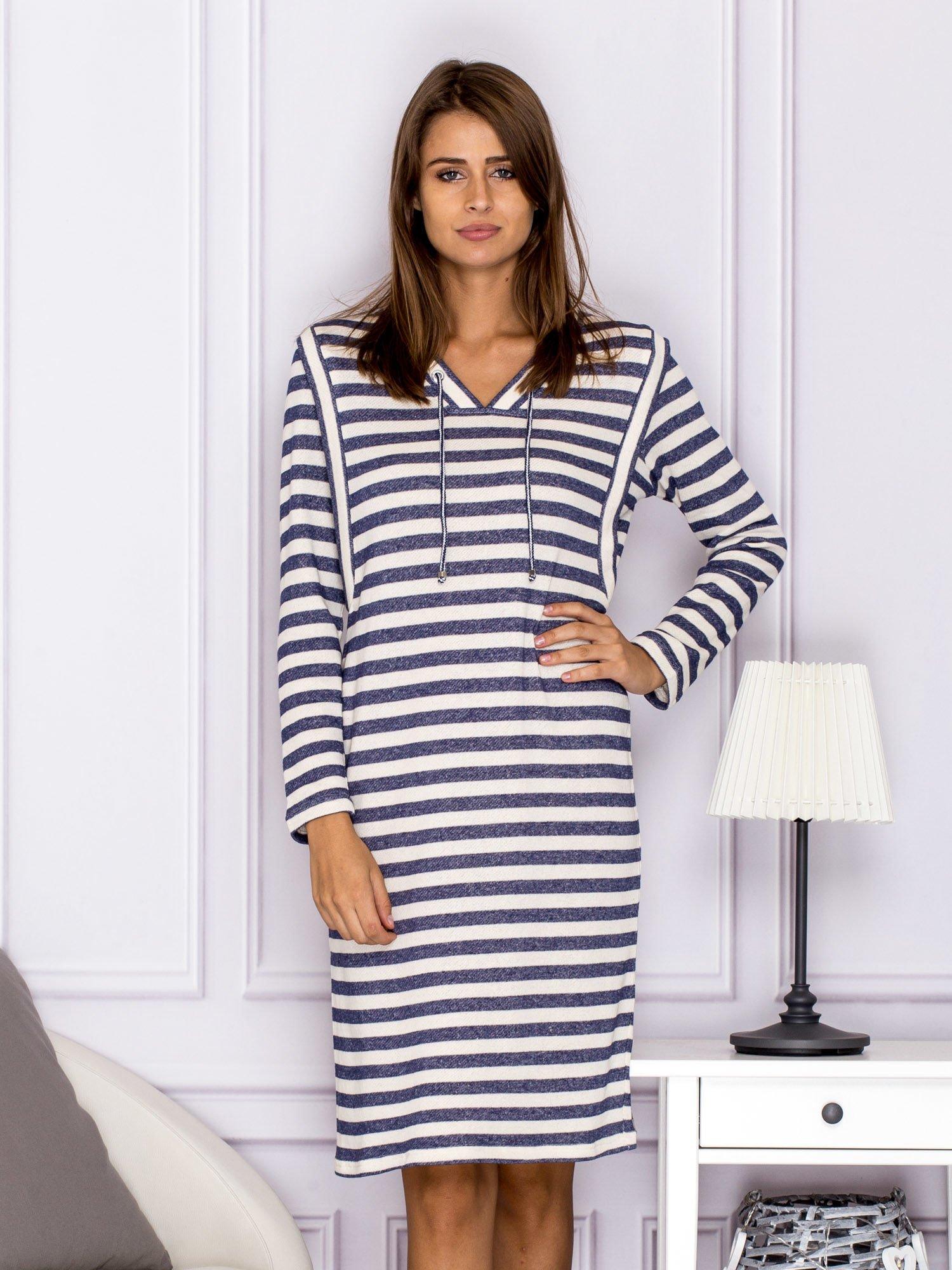 c9da85e8d78d90 Bawełniana sukienka w paski ze sznurowaniem niebieska - Sukienka ...