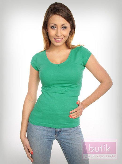 Bawełniana zielona bluzka na krótki rękaw FOR FITNESS                                  zdj.                                  1
