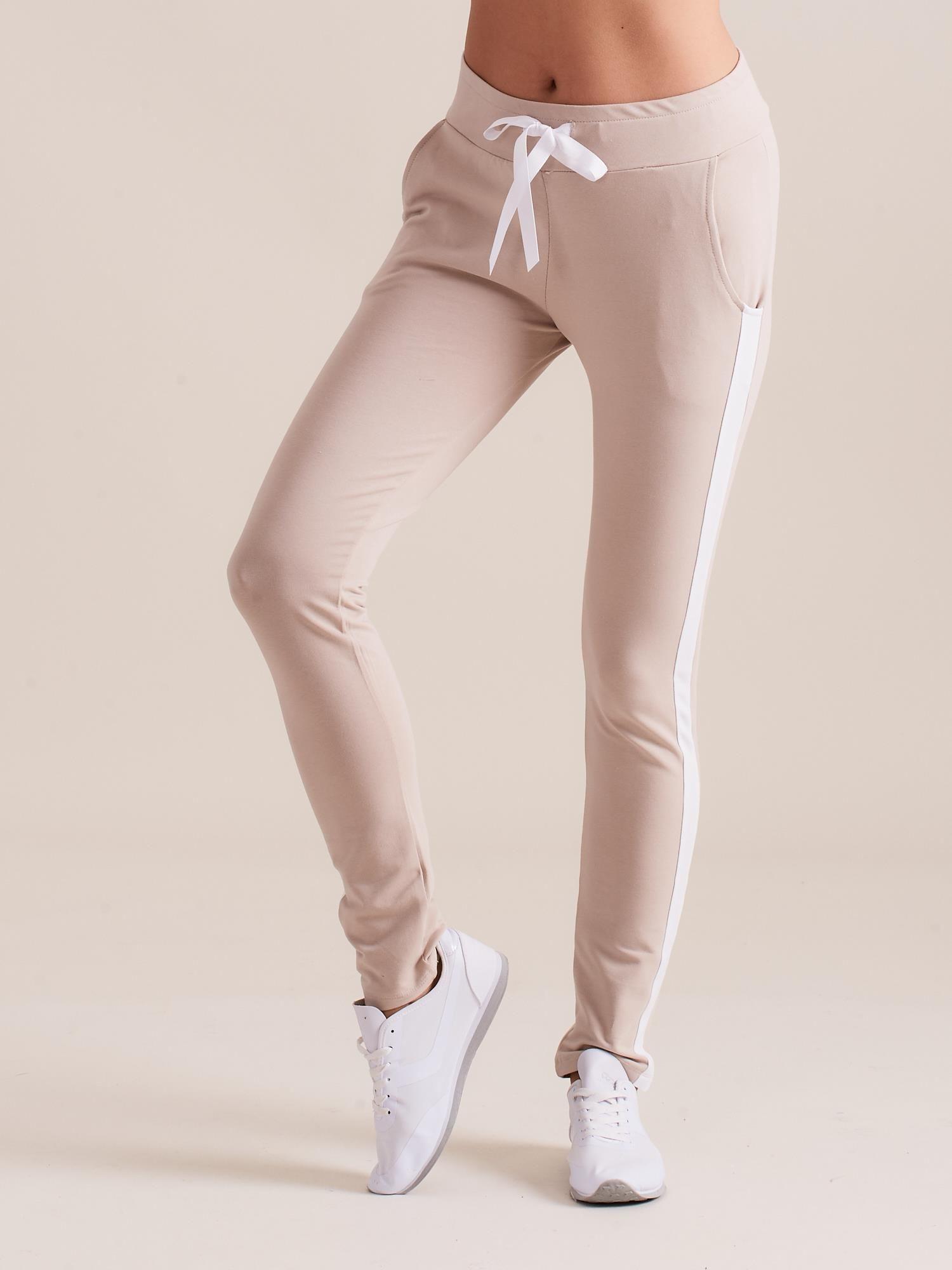 4142cc7425237b Bawełniane spodnie dresowe z lampasami beżowe - Spodnie Dresowe - sklep  eButik.pl