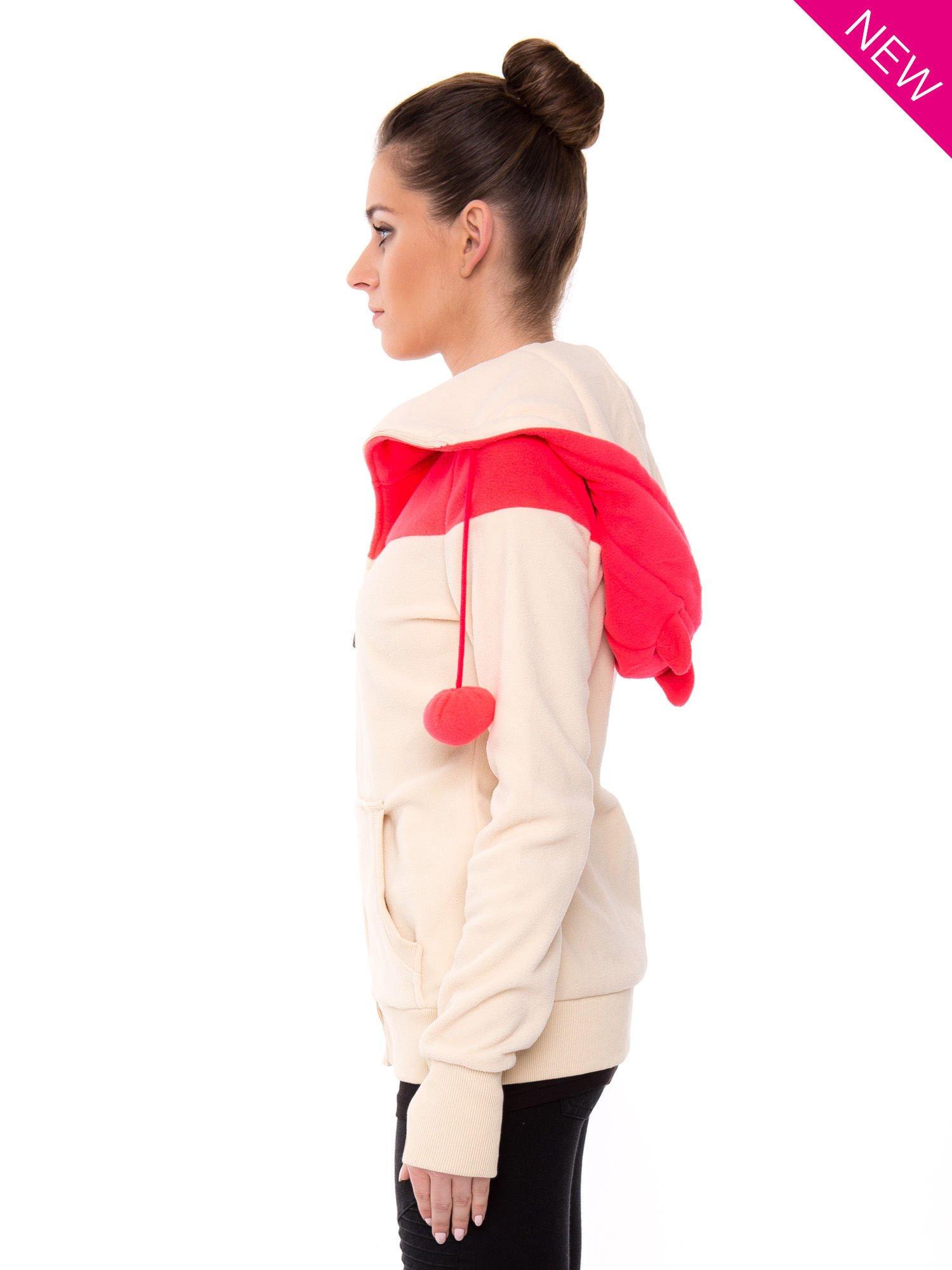 Beżowa bluza polarowa z kapturem z uszkami                                  zdj.                                  4