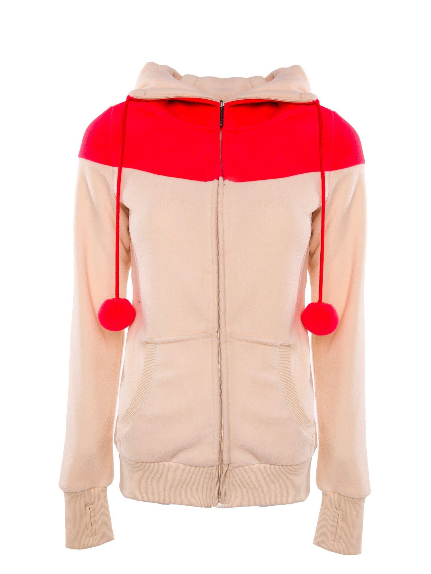 Beżowa bluza polarowa z kapturem z uszkami                                  zdj.                                  1